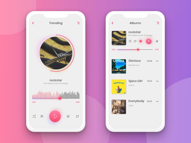 Music Player - Iphonex soundcloud daily ui dailyui music player music branding mobile design ui ux iphonex app