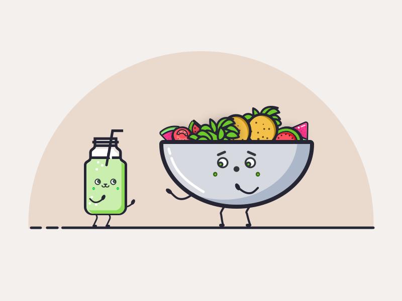 Happy Falafel Salad 🥗 juice salid graphic flat icon happy vector illustration clean