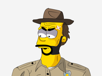 Chief Hopper simpson simpsons police chief yellow illustrator drawing drawn chief hopper jim hopper jim things stranger hopper stranger things vector web colorful clean illustration