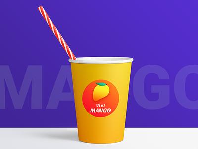 Branding for exotic fruits store store cup fruits shake mango shape gradient logo branding