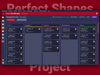 Perfect Task Manager 🗂 Dark Version 🌚 dark ui dark vector typography illustration icon branding sketch design brand logo web interface ux ui psproject app
