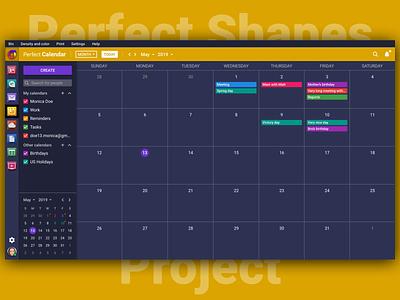 Perfect Calendar 📅Dark Version 🌚 dark dark ui vector typography illustration icon branding sketch design brand logo web interface ux ui psproject app