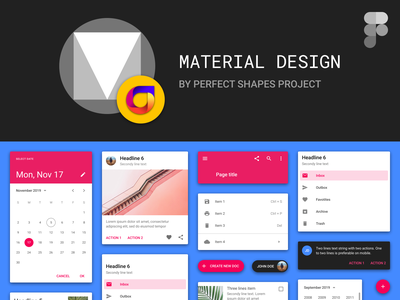 Free Material Design Kit For Figma by Perfect Shapes Project tablet web desktop android psproject figma interface components styles free ui kit design system material design