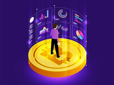 Blockchain Tech. illustration analyze data isometric blockchain