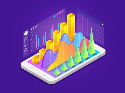 Isometric Report. data analyze isometric illustration