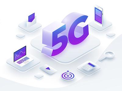 5G Tech. design 5g vector isometric illustration