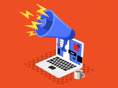 The Online Ads. advertising online isometric illustration