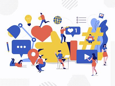 The Social Team hashtag teamwork social illustration