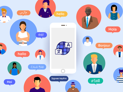 Mobile App Translator translator application illustration