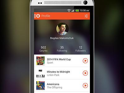Qwyrk Profile android app orange music profile tracks