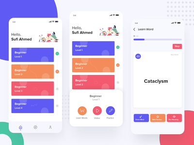 English Learning App ios vocabulary interaction user experience product online course learning english invision adobe xd flat colorful 2019 dribbble design ux ui app android