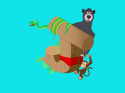 A-Z of Animated Movies/Series - J for Jungle Book typography alphabets mowgli jungle book j disney series pixar isometric illustration a letter a day 26daysoftype illustraion vector graphic design