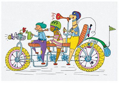 Bike Geeks - illustartion (contest artwork) fun outdoors happiness draw helmet flower yellow bicycle geek rower bike illustration