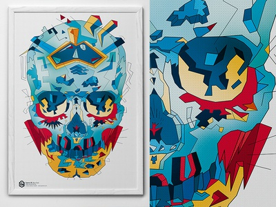 Blue skull. Cosmo #35  cosmo red poster polygon pattern typohole blue art illustration skull