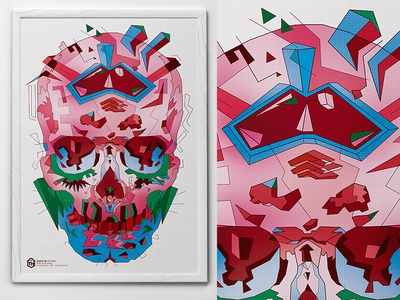 Pink skull. Cosmo #35  skull illustration art green pink typohole pattern dotts poster red cosmo