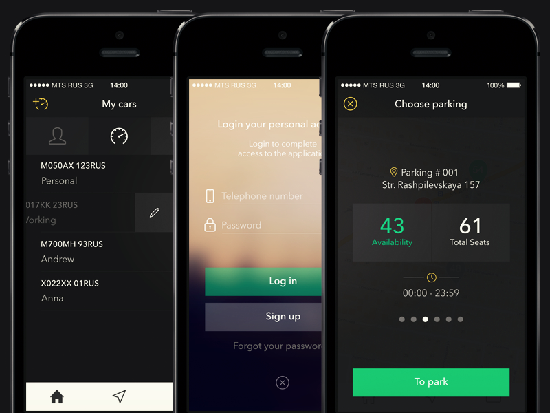 Parking app app ios ios7 design mobile profile profil parking dark login car