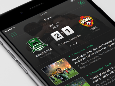 FC Krasnodar iOS app Concept iphone6 dark news sport krasnodar fc soccer football mobile ios8 ios app