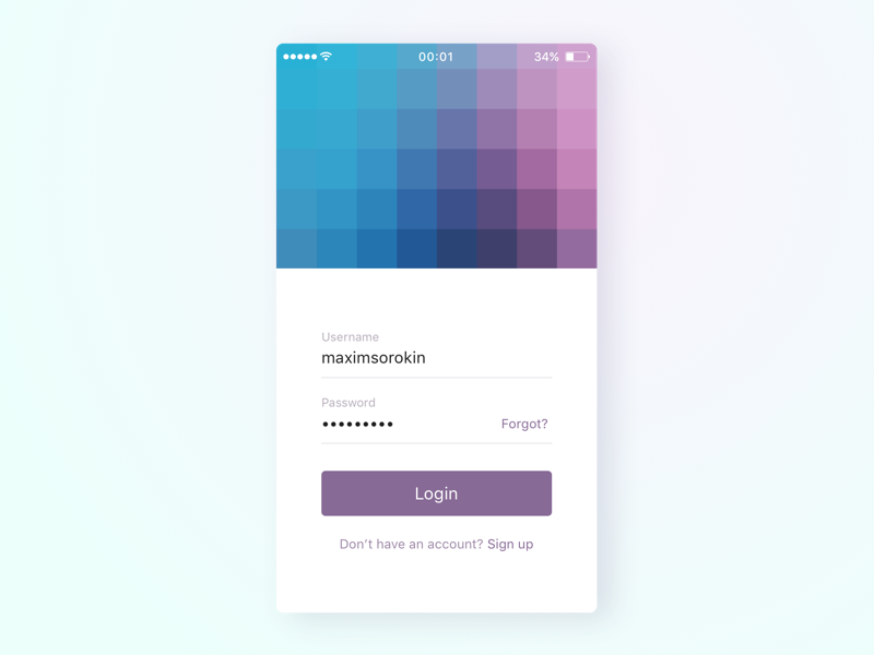Login screen ui signup login minimal light ios app