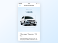 Tiguan Test volkswagen blue news car ui minimal light ios app