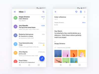 Rambler/mail for Android ui minimal clean colors wip rambler mail android material app