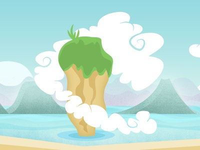 Island Time mobile game illustration fun cute islands clouds