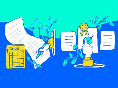 Paid Social Carousel pt. 2 comic colorful bold service interest mortgage saving lender calculator save money save bank finance art hand drawn drawing branding illustration design