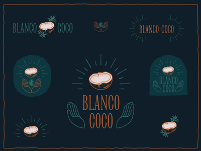 Blanco Coco (1/3) fresh stipple growing leaf hands brand identity brand serif coco blanco coconut texture typography hand drawn drawing branding illustration design