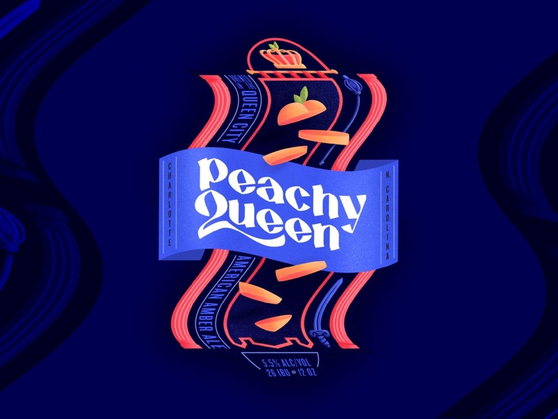 Peachy Queen V1 bold label king beer peachy queen royalty column crown warped experimental peach logo texture typography hand drawn branding drawing illustration design