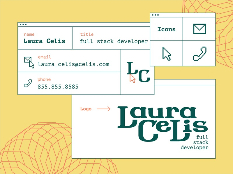 Developer Branding experimental code coder browser cursor wordmark type phone envelope developer computer pixelated pixel icon logo typography branding drawing illustration design