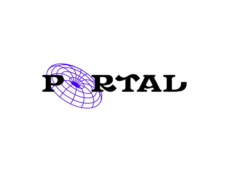 P O R T A L hole black wordmark experimental trippy window illusion space immersive art entrance doorway portal vector icon type logo illustration branding design
