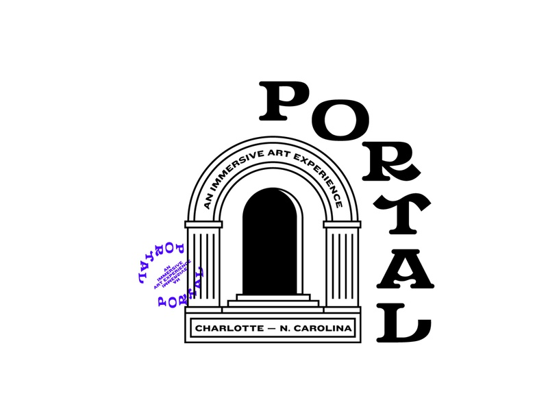 P O R T A L  3 abstract linework line space hole black stamp experimental stairs doorway portal column icon type logo typography drawing branding illustration design