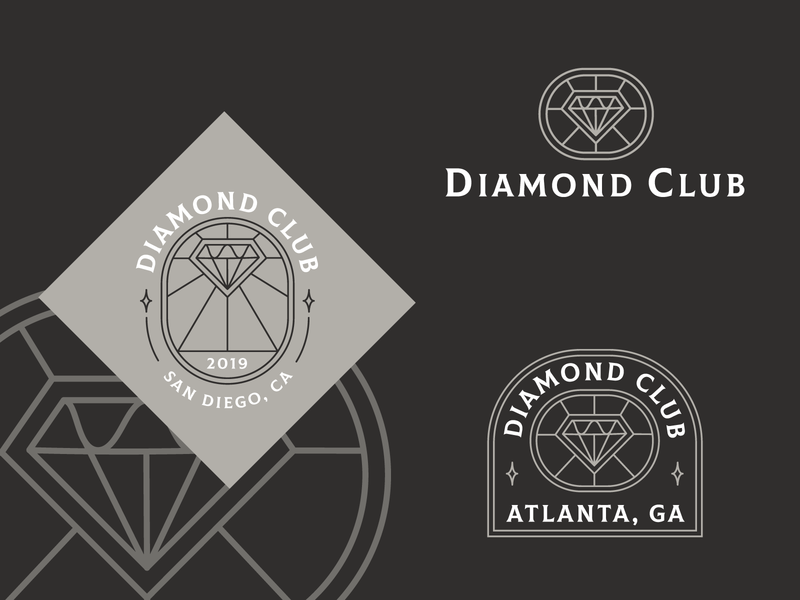 Diamond Club Logo line linework plaque gem silver brown shiny medieval sparkle club diamond icon vector type typography logo drawing branding illustration design