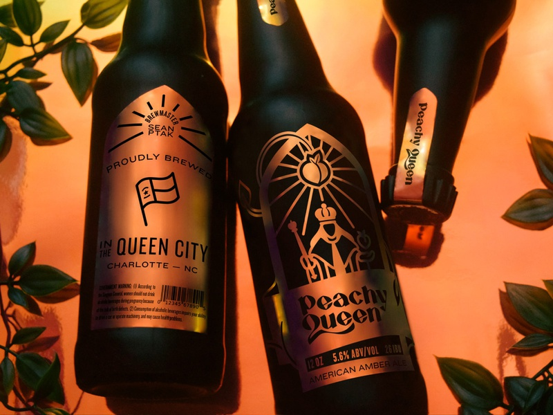 Peachy Queen photography line hand lettering blackletter royalty brew gothic ale amber medieval packaging king queen peachy iridescent beer typography branding illustration design