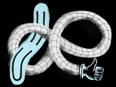 Funsies grid texture creepy portal warped hand thumbs up face smiley experimental fresco procreate hand drawn drawing design illustration