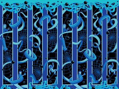 Tech Mural lgbt code binary vinyl pattern portal science computer apple tim cook lynn conway ride sally turing alan tech mural vector illustration design