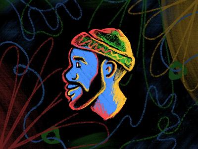Tae Portrait neon brush brand personal beanie linework line faces headshot head caricature profile portrait procreate fresco texture hand drawn drawing branding illustration