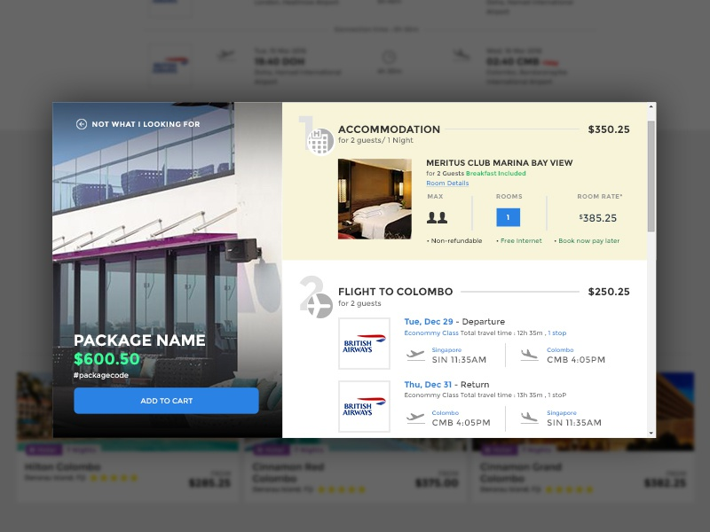 Package Detail Card cruise itinerary card package detail card popup package details ui card