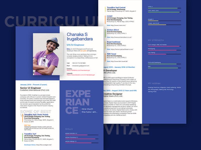 Curriculum Vitae curriculumvitae cv skills ux ui resume print flat editorial