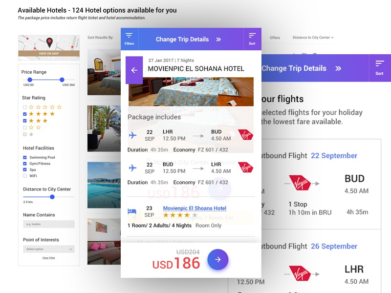 Book your journey flight ui travel ui responsive hotel card booking card package card flight card booking package