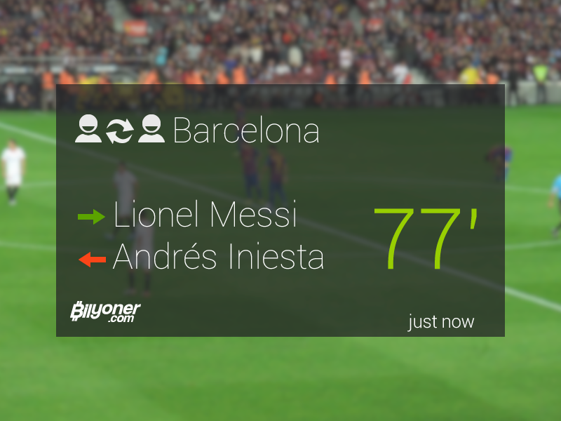 Live scores Google Glass app ui google glass score live flat clean football soccer match