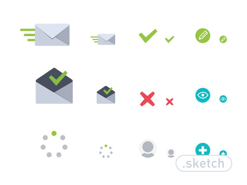 Raven's Icon Set sketch app icon set mac web register ui free freebie mail