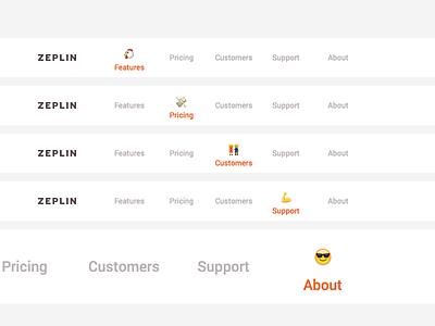 Zeplin emoji tabs menu tab emoji zeplin site landing web ui