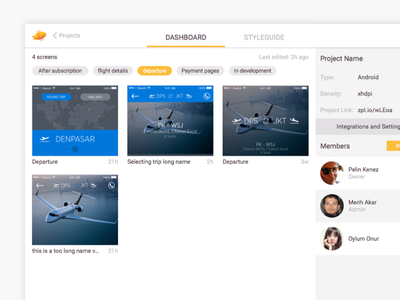 Zeplin's new web UI tab grid dashboard zeplin tag app web ux ui
