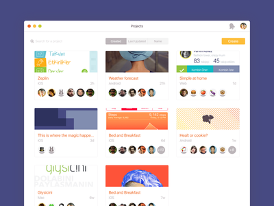 Zeplin's projects screen for Mac dashboard zeplin ux ui app mac