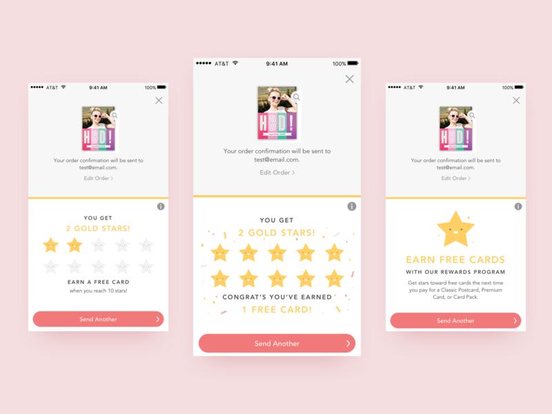 Ink Cards Rewards Program stars confetti ios mobile rewards loyalty program