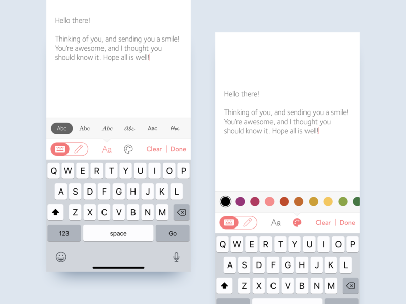 Font Choices text editor ios ink cards ux ui mobile