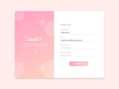 DailyUI #001 - Sweet Sign Up