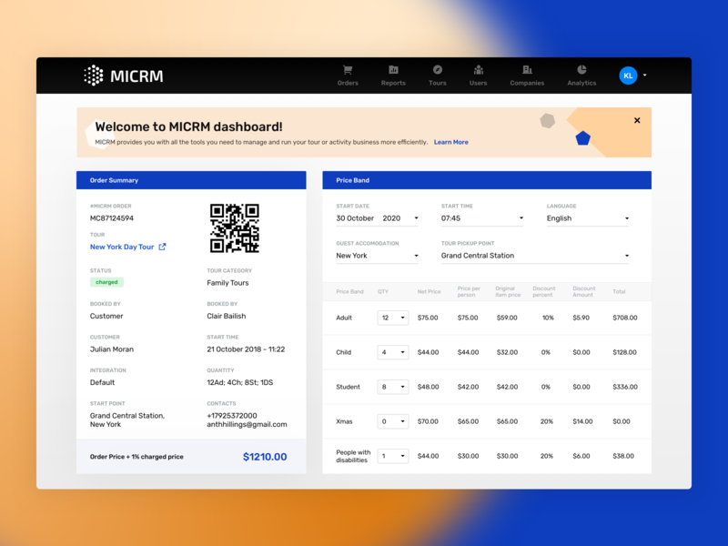 MICRM Dashboard task managment schedule planning management user experience user interface ux ui interface dashboard managemant tool crm