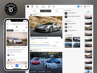 Roadstr - Webapp redesign landing website mobile cards automotive cars landing page dashboard ux ui