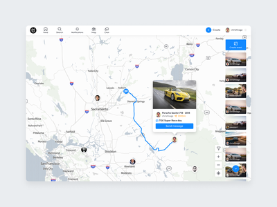 Roadstr - Webapp redesign design landing dashboard automotive cars plan interface ux ui map